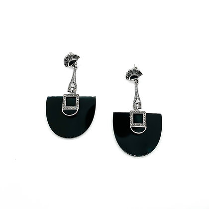 Silver and Onyx Art Deco Style Drop Earrings (Sold)