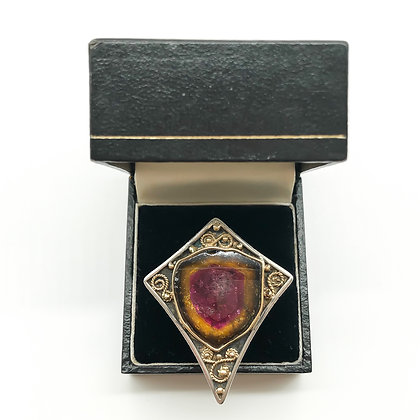 Vintage Silver/Gold Ring set with Watermelon Tourmaline