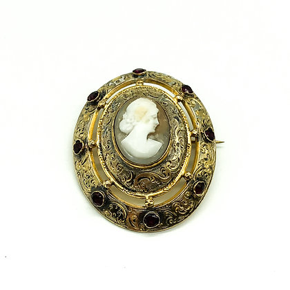Victorian Silver Gilt Cameo Brooch set with Garnets (Sold)