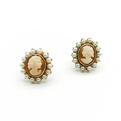 9ct Gold Cameo Stud Earrings with Seed Pearls (Sold)