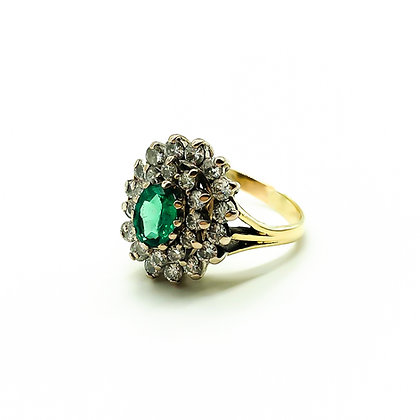 Vintage 18ct Gold Ring with Emerald and Diamonds (Sold)
