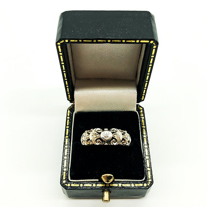 18ct White Gold Ring set with 7 Old-Cut Diamonds