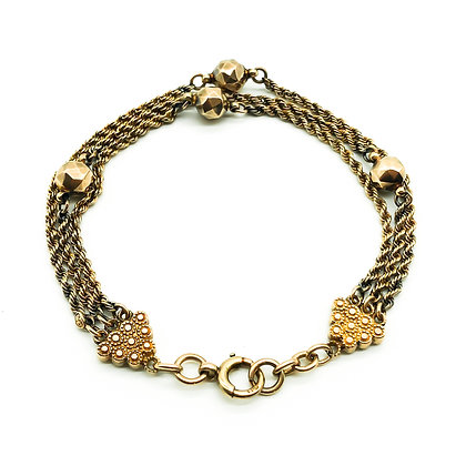 Victorian 9ct Rose Gold Albertina Bracelet