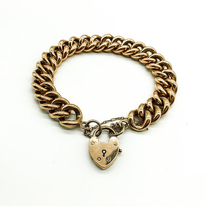 Victorian 9ct Rose Gold Curb Link Bracelet (Sold)