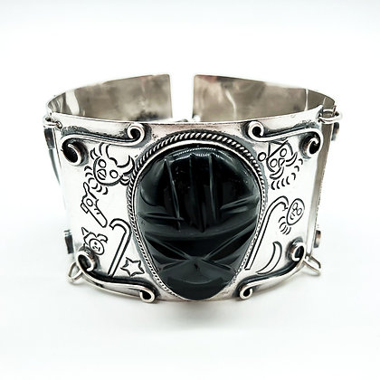 Vintage Mexican Silver and Carved Obsidian Bracelet