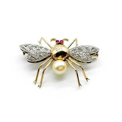 18ct Gold Diamond and Pearl Bug Brooch