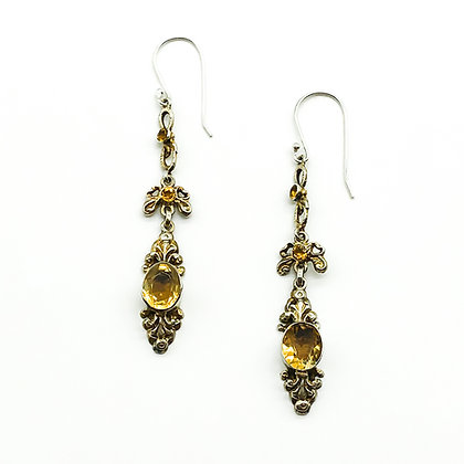 Silver Gilt Austro-Hungarian Citrine Drop Earrings (Sold)