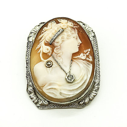 Antique Silver Filigree Cameo Brooch (Sold)