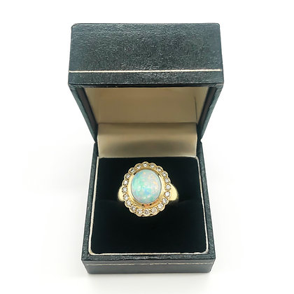 18ct Gold Peter Gilder Ring with Opal and Diamonds