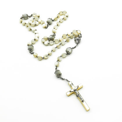 Victorian Silver Mother of Pearl Rosary (Sold)