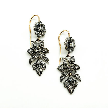 Victorian 18ct Gold/Silver Drop Diamond Earrings (Sold)