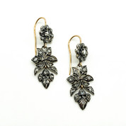 Victorian 18ct Gold and Silver Drop Earrings set with Old Cut Diamonds