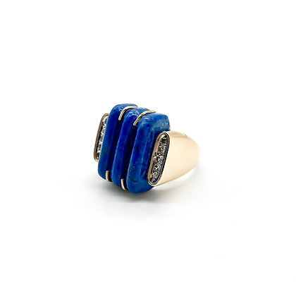 14ct Gold Art Deco Lapis Lazuli and Diamond Ring