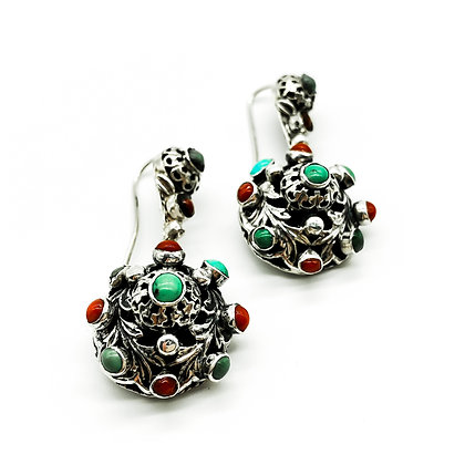 Silver Coral and Turquoise Earrings (Sold)