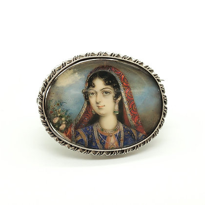 Silver Indian Picture Brooch (Sold)