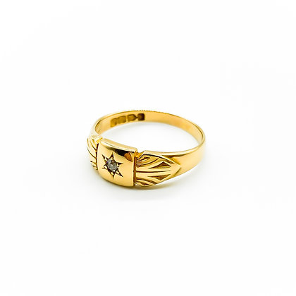 Victorian 18ct Gold and Diamond Gypsy Ring