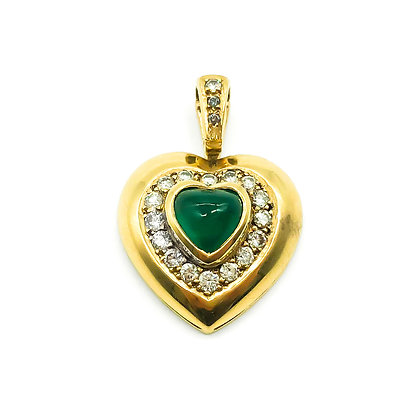 18ct Gold Emerald and Diamond Heart Pendant