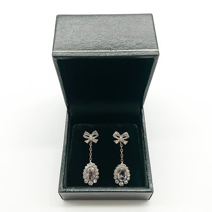 Vintage 9ct Gold Earrings set with Kunzite and Paste (Sold)
