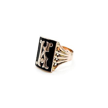 """Vintage 9ct Rose Gold Onyx Letter """"K"""" Signet Ring"""
