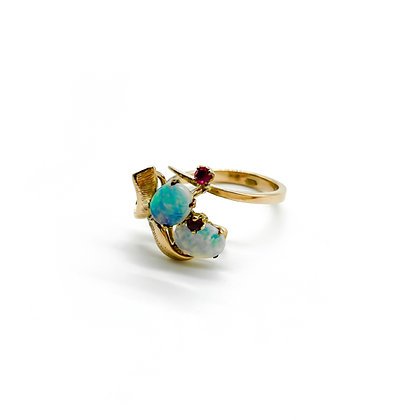 14ct Gold Opal and Ruby Ring (Sold)