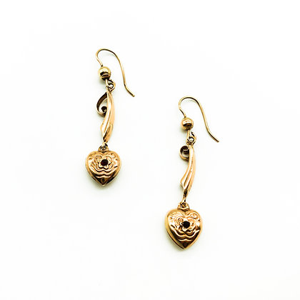 Victorian Heart-Shaped Drop Earrings (Sold)