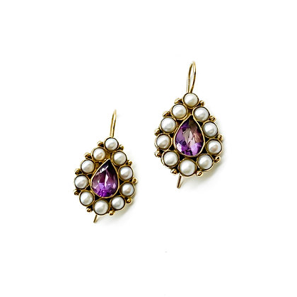 9ct Gold Amethyst and Pearl Earrings