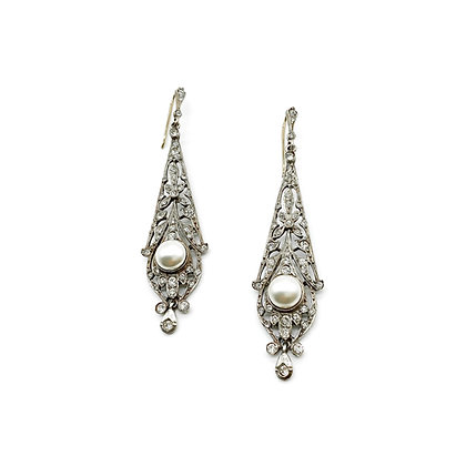 Edwardian Style Paste and Pearl Drop Earrings