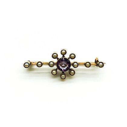 Victorian 9ct Gold Amethyst & Seed Pearl Brooch (Sold)