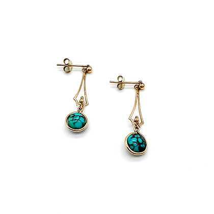 Edwardian 9ct Gold Turquoise Drop Earrings (Sold)