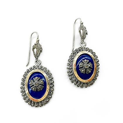 Silver and 18ct Gold Blue Enamelled Earrings