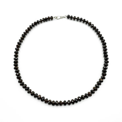 Faceted Garnet Bead Necklace with Silver Clasp