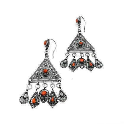 Large Silver Earrings set with Coral