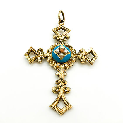 Victorian Pinchbeck/Gold Mourning Cross (Sold)