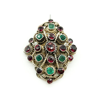Austro-Hungarian Pendant set with Garnets and Emeralds