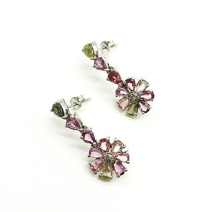 9ct White Gold Multi-Colour Sapphire Earrings (Sold)