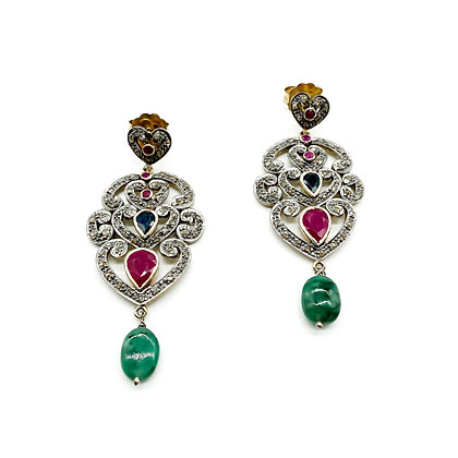 Silver Multi Stone Earrings Plated with 22ct Gold