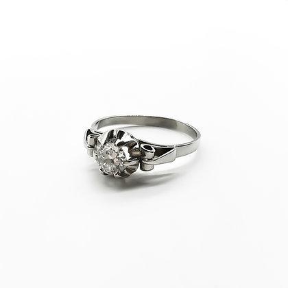 Platinum Ring set with Old-European Cut Diamond