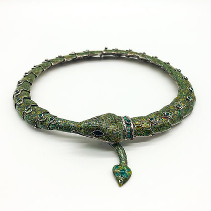 Mexican Margot de Taxco Enamel Snake Necklace (Sold)