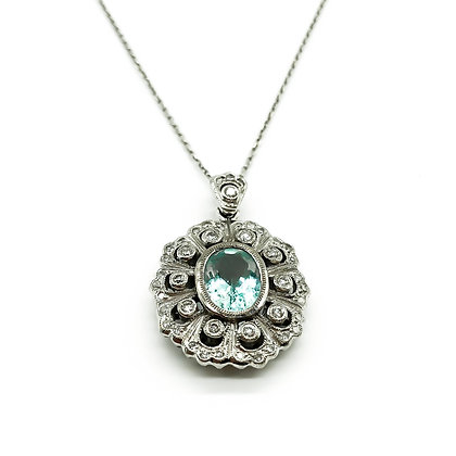 18ct White Gold Diamond and Aquamarine Pendant