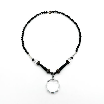 Art Deco French Jet and Crystal Necklace