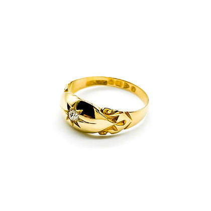 18ct Gold and Diamond Gypsy Ring