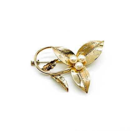 14ct Rose Gold Pearl Brooch