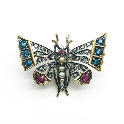 18ct Gold and Silver Victorian Butterfly Brooch