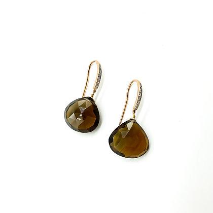 14ct Rose Gold Smokey Quartz and Diamond Drop Earrings