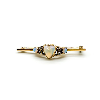 Victorian 18ct Gold Opal and Diamond Brooch