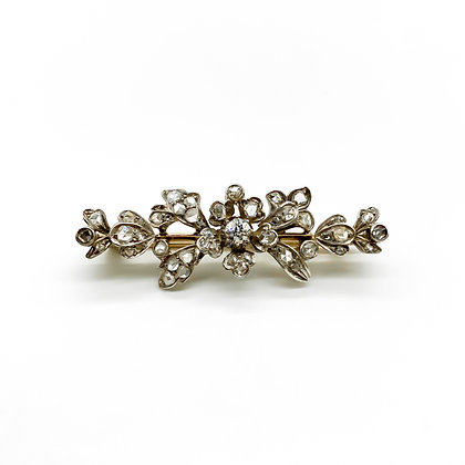 Victorian 9ct Gold and Silver Diamond Brooch