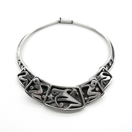 Vintage Mexican Silver Designer Necklace