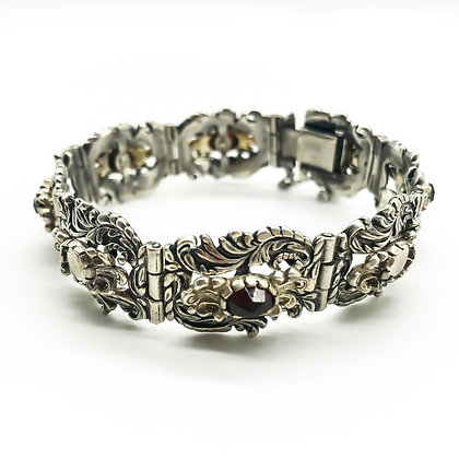 Silver Austro-Hungarian Bracelet set with Garnets (Sold)