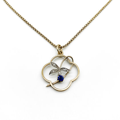 Victorian 15ct Gold Sapphire and Diamond Pendant on Chain