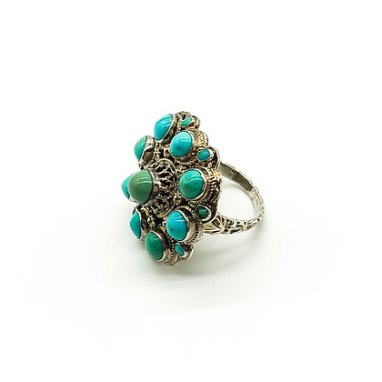 Austro-Hungarian Silver Gilt Ring set with Turquoise